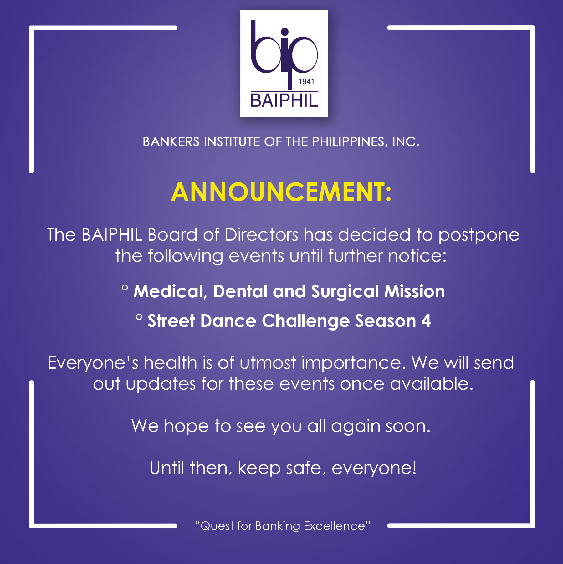Postponement of BAIPHIL Events (April-May 2020)